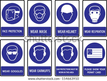 Mandatory  signs , Construction health and safety sign used in industrial applications. - stock vector