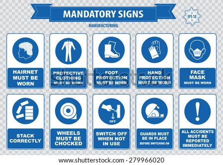 mandatory signs, construction health, safety sign used in manufacturing applications (safety helmet, gloves, ear protection, eye protection, foot protection, sound horn, id card, mask) - stock vector