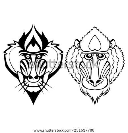 Mandrill head vector stylized tattoo can be used as a mascot or logo - stock vector
