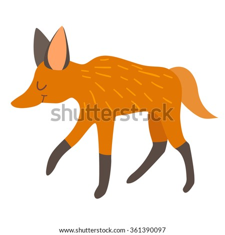 Maned wolf. Vector illustration, isolate on white  background