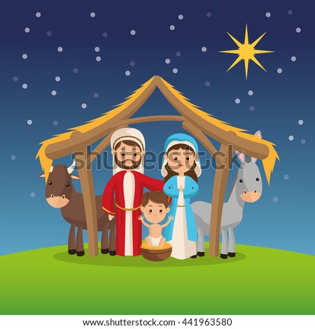 Manger icon. Merry Christmas design. Vector graphic