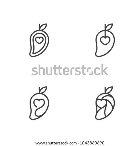 mango fruit love heart icons outline stock vector 1043860690