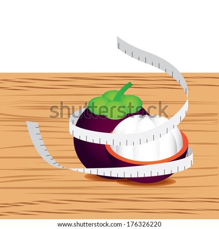 Mangosteen with measure tape and table wood - stock vector
