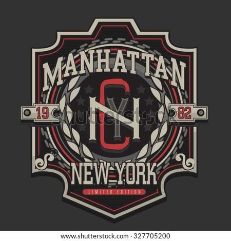 Manhattan New York typography, t-shirt graphics, vectors,  - stock vector