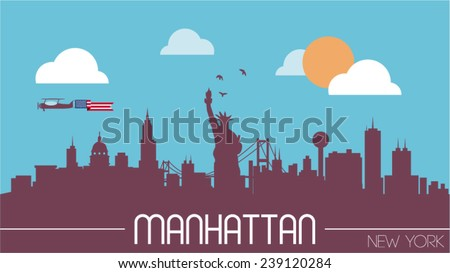 Manhattan USA skyline silhouette flat design vector illustration. - stock vector