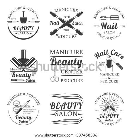 Manicure And Pedicure Beauty Salon Nail Care Set Of Vector Vintage Emblems Labels