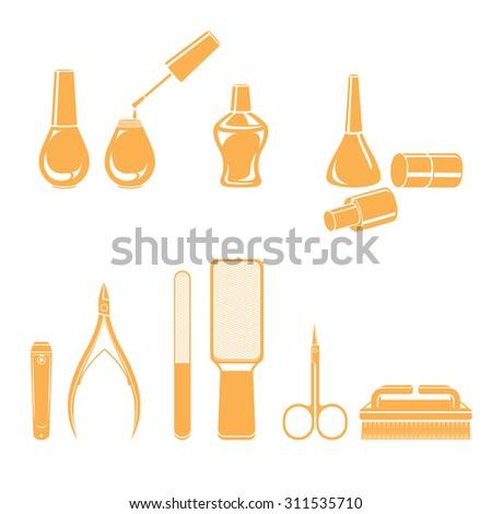 Manicure and pedicure equipments set, monochrome, nail salon, beauty, Ladies fashion, lifestyle - stock vector