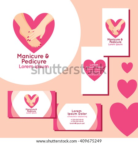 Manicure pedicure logo set business cards stock vector royalty free manicure and pedicure logo set of business cards for manicure and pedicure colourmoves