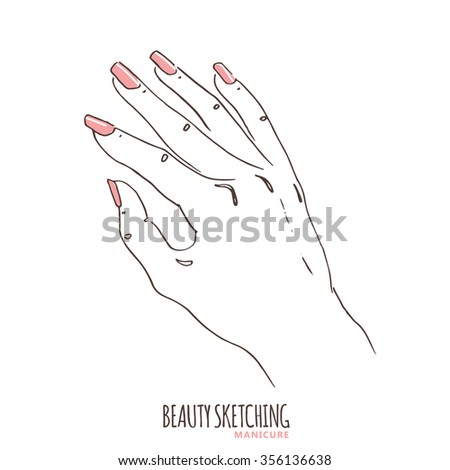 Manicure. Manicured nails. Nail Polish, Nail Lacquer, Fingernail Polish, Nail Enamel Set. Make Up, Cosmetics. Hand drawn vector illustration. Line art ink sketch. - stock vector