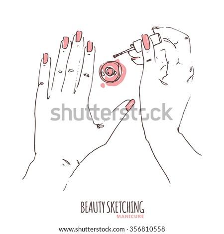 Manicure. Manicured nails. Nail Polish, Nail Lacquer, Fingernail Polish, Nail Enamel Set. Make Up, Cosmetics. Hand holding polish bottle, brush. Hand drawn vector illustration. Line art ink sketch.  - stock vector