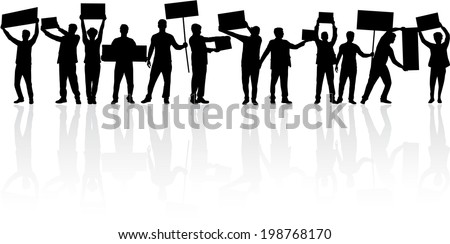 manifestation - a group of people protesting - stock vector
