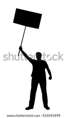 manifestation - a man protesting  - stock vector