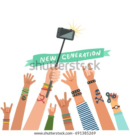 Manifesting youth crowd. A lot of hands of young people with different gestures. Teenagers group taking a selfie. Vector illustration in flat style isolated on white.