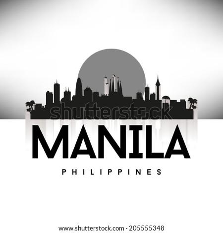 Manila Philippines black skyline silhouette design, vector illustration. - stock vector
