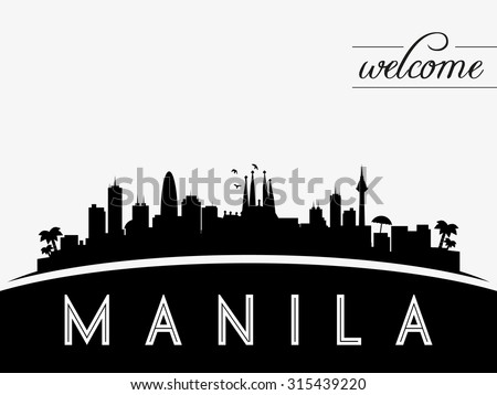 Manila Philippines skyline silhouette, black and white design, vector illustration