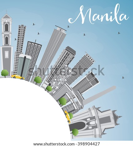 Manila Skyline with Gray Buildings and Blue Sky. Vector Illustration. Business Travel and Tourism Concept with Copy Space. Image for Presentation Banner Placard and Web Site.