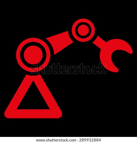 Manipulator icon from Business Bicolor Set. This flat vector symbol uses red color, rounded angles, and isolated on a black background. - stock vector