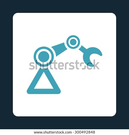 Manipulator icon. This flat rounded square button uses blue and white colors and isolated on a dark blue background. - stock vector