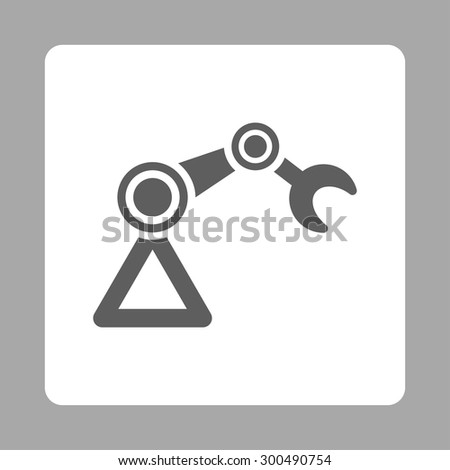 Manipulator icon. This flat rounded square button uses dark gray and white colors and isolated on a silver background. - stock vector