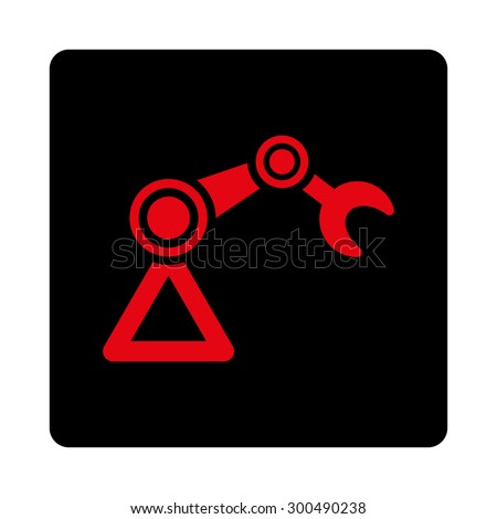 Manipulator icon. This flat rounded square button uses intensive red and black colors and isolated on a white background. - stock vector
