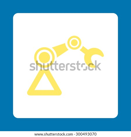 Manipulator icon. This flat rounded square button uses yellow and white colors and isolated on a blue background. - stock vector