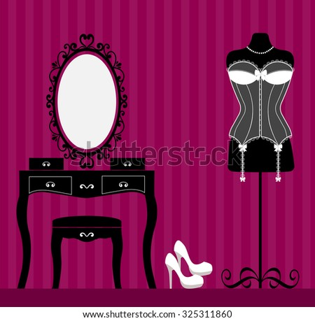 mannequin and dressing table and white corset - stock vector