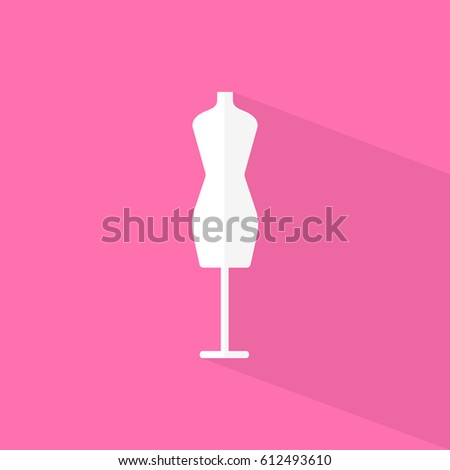 Mannequin with shadow on pink background. Flat style