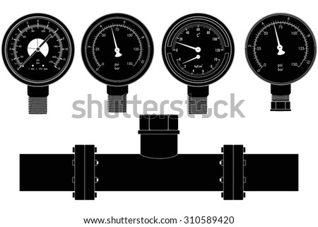 Manometer set and pipe. Vector isolated on white. - stock vector