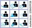 manpower and human resource, personal consultant icon set, vector - stock vector