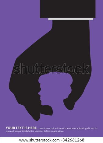 Mans hand squeezing womans head. Violence against women, sexual harassment, abuse at work place concept. - stock vector