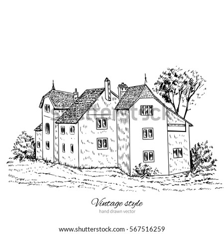 Mansion Vintage Vector Sketch Tile Old European House Historical Building Sketchy Line Art Isolated