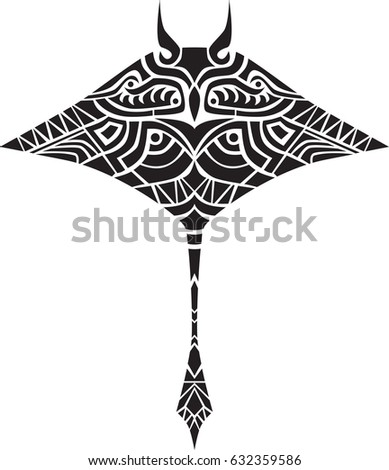 Manta Ray Vector Decal Isolated Decal Stock Vector Royalty Free