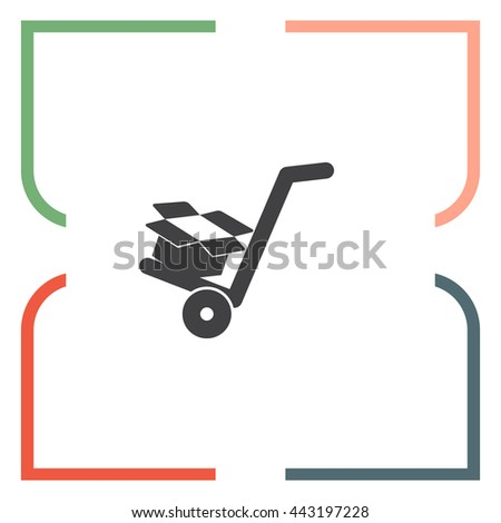 Manual cart with cardboard Box vector icon.  Transportation sign. Manual push delivery symbol