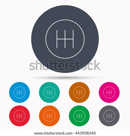 Manual gearbox icon. Car transmission sign. Icons in colour circle buttons. Vector - stock vector