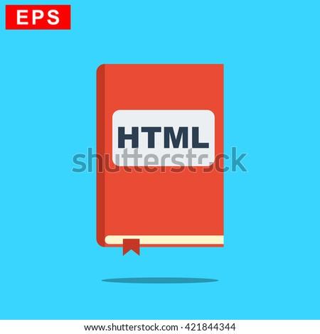 manual html book icon, vector handbook html icon, isolated book icon - stock vector