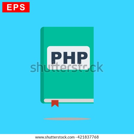manual php book icon, vector handbook php icon, isolated book icon - stock vector