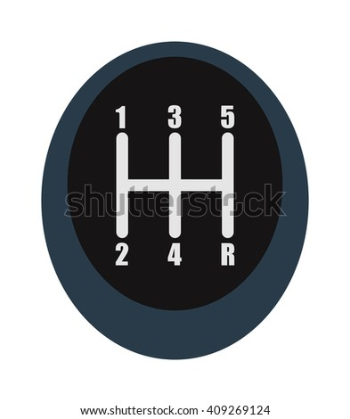 Manual speed transmission shifter modern car drive stick knob, transportation, forward vector. Car speed shifter technology and handle transmission speed shifter. Handle speed shifter. - stock vector