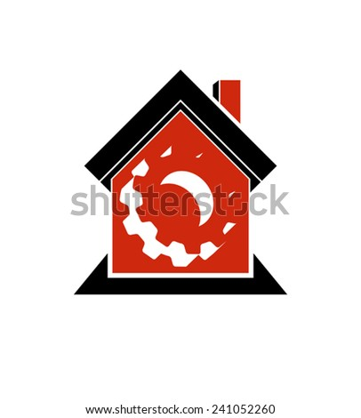 Manufactory conceptual symbol �¢?? a house with 3d cog wheel. Industry and production theme element, for use in web design. - stock vector
