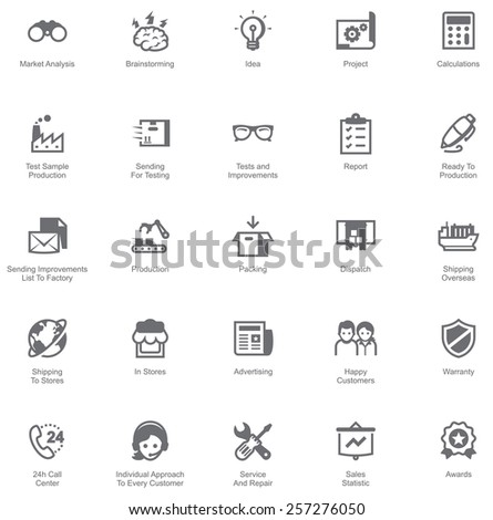 Manufacturing and distribution icon set - stock vector