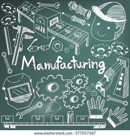 Manufacturing and operation system in factory production assembly line handwriting doodle sketch tools sign and symbol in blackboard background for education  presentation or introduction (vector)