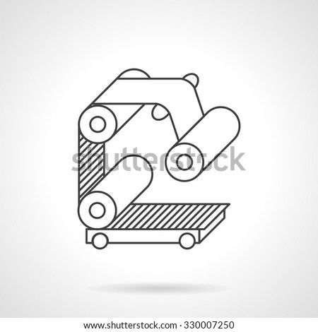 Manufacturing equipment. Elements of roller conveyor with belt. Flat line style vector icon. Design elements for site, business or mobile. - stock vector