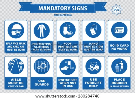 Manufacturing mandatory sign (hairnet must be worn, foot protection, hand, face mask, stack correctly, wheels, switch off, guard be in place, accidents, id card, aisle, forklift, place rubbish bin) - stock vector