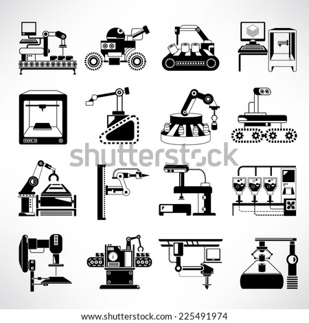 manufacturing process icons, industrial robot in production line icons set - stock vector
