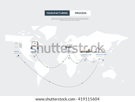 Manufacturing Process on World Map. Vector illustration - stock vector