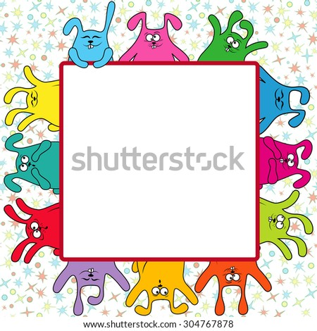 Many amusing rabbits holding a big advertising banner, vector illustration on the color seamless starry background - stock vector