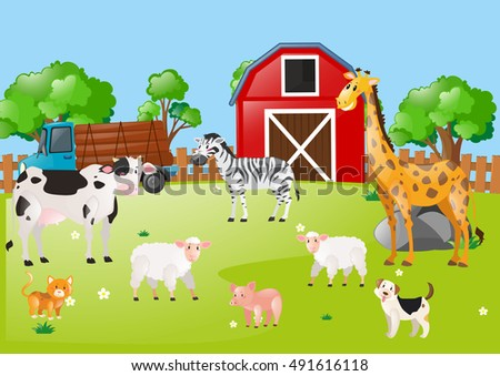 Many animals in the farmyard illustration
