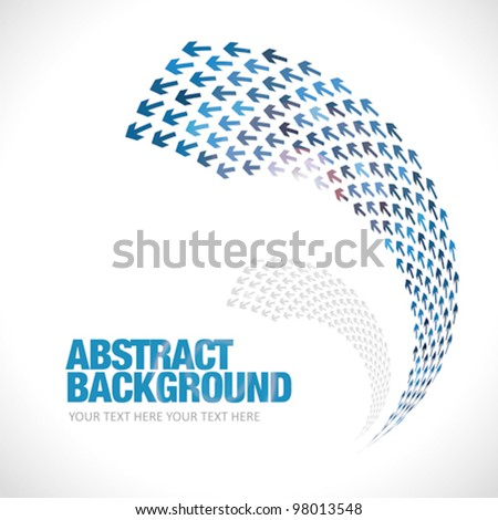 Many arrows unite in one direction over white background - stock vector