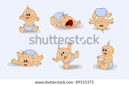 many babies - stock vector