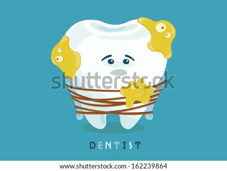 many bacteria ,tooth sad - stock vector