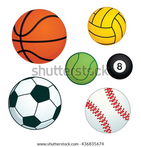 many ball in many type of sport vector